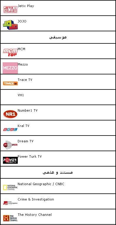 لیست کانالهای قابل مشاهده با Gbox Digiturk3